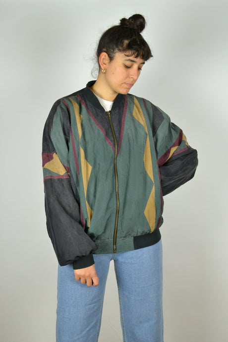Abstract / aztec patternds Silk Bomber Jacket L