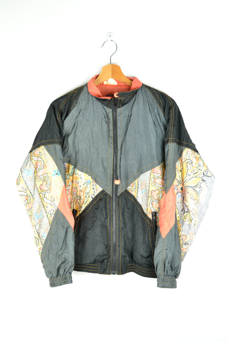 80s ETIREL Shell Jacket Grey/Black/Orange Medium M