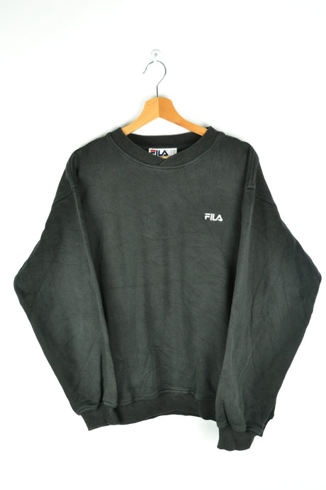 Black Fila Sweatshirt 90s Vintage Medium M