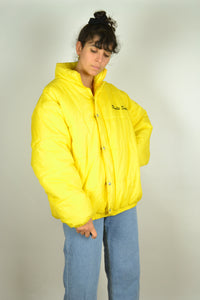 80s Neon Yellow Down Jacket Medium M