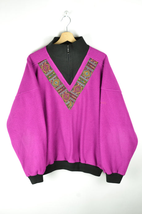 80s Half Zip Fuschia Fleece Sweater Oversized XL