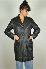 Load image into Gallery viewer, 90s long black leather trench jacket Small S