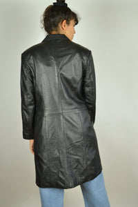 90s long black leather trench jacket Small S