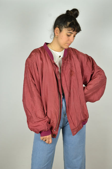 Red Silk Bomber Jacket Vintage 90s XL