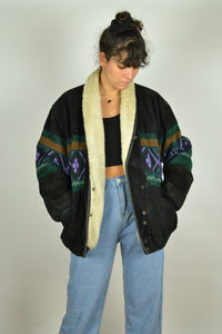 80s Aztec navajo Winter Bomber Jacket XL