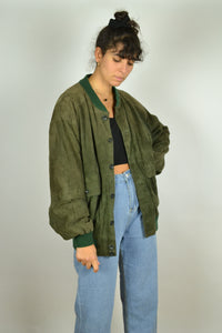 Vintage Green Suede Bomber Jacket Large L XL