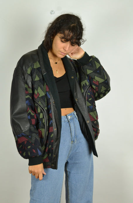 80s Vintage - Unique Aztec Leather Bomber - Size M L