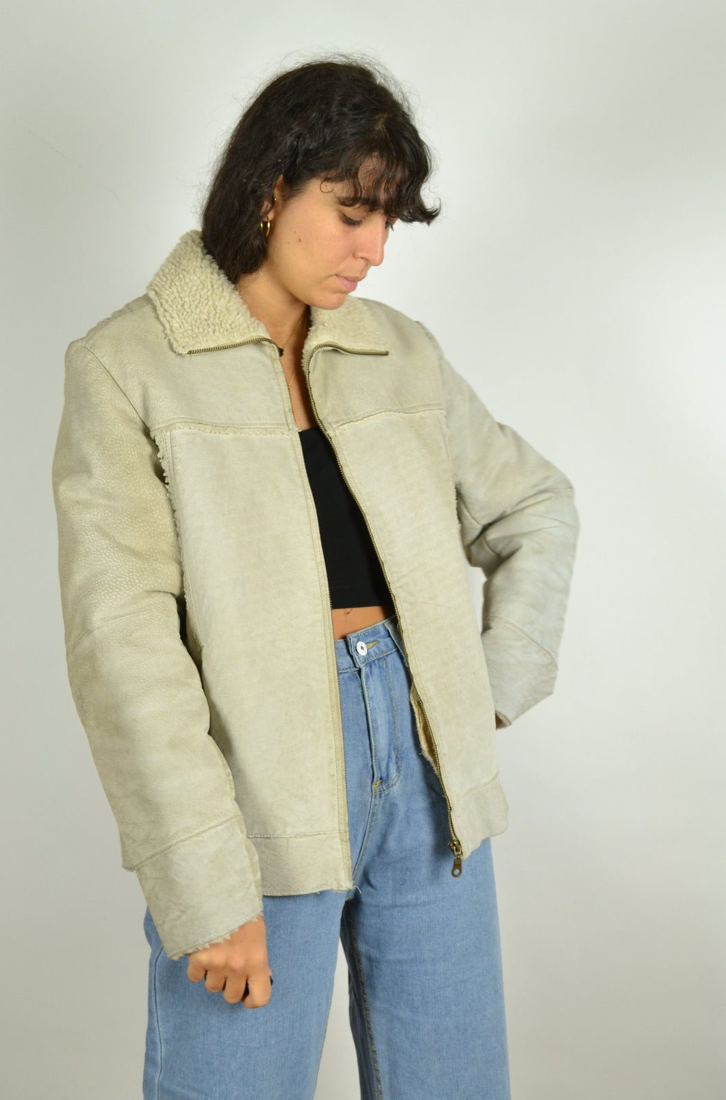 90s Y2K Off-white Sheepskin Jacket Medium M