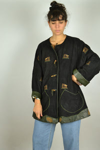 70s 80s Bavarian Austrian Leather Jacket M L