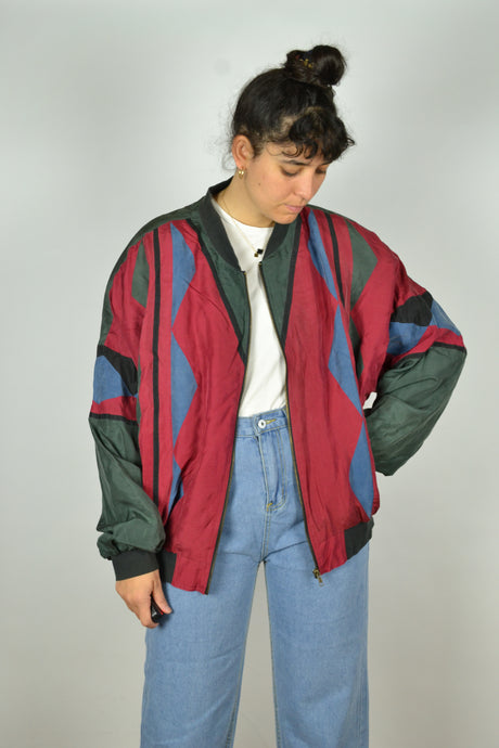 Abstract/Aztec patterned Silk bomber Jacket L