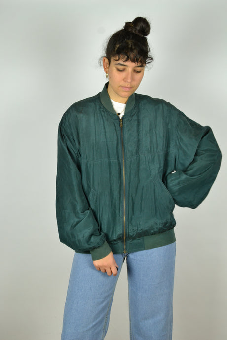 Green silk bomber Jacket Medium M L