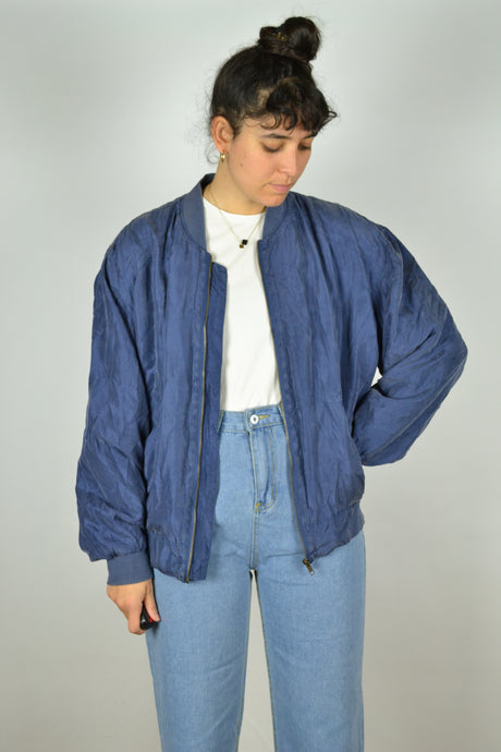 Blue Silk Bomber Jacket vintage Medium M