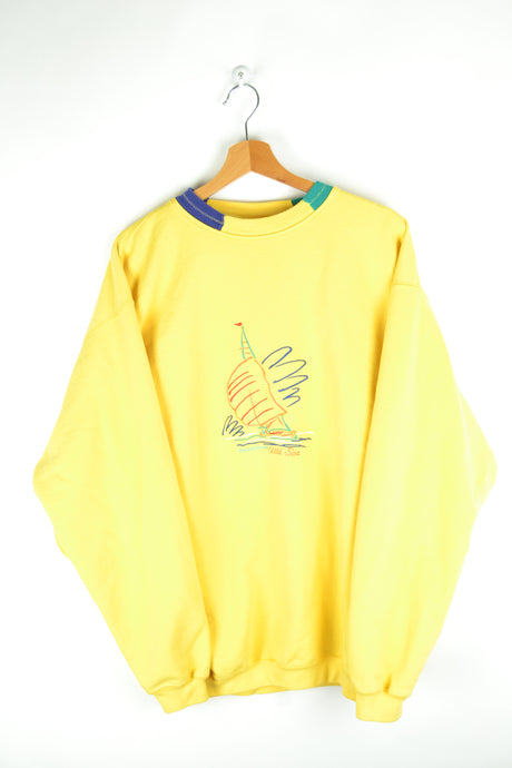 80s Yellow Crewneck Sweatshirt Sailing Design Oversized XXL