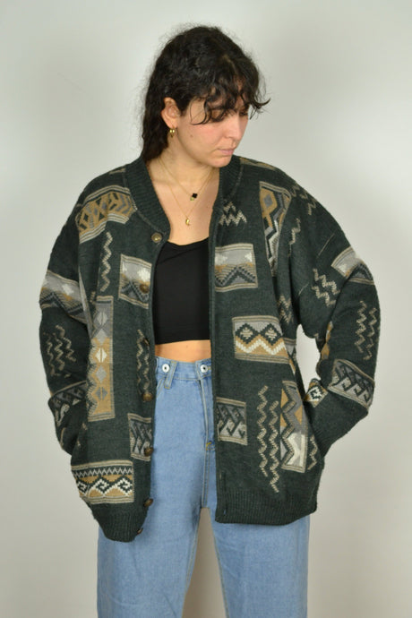 Vintage 80s/90s - Patterned Wool Bomber Jacket - Size L/XL