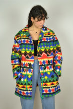 Load image into Gallery viewer, Vintage 80s - Aztec Patterns Fleece Jacket - Size M