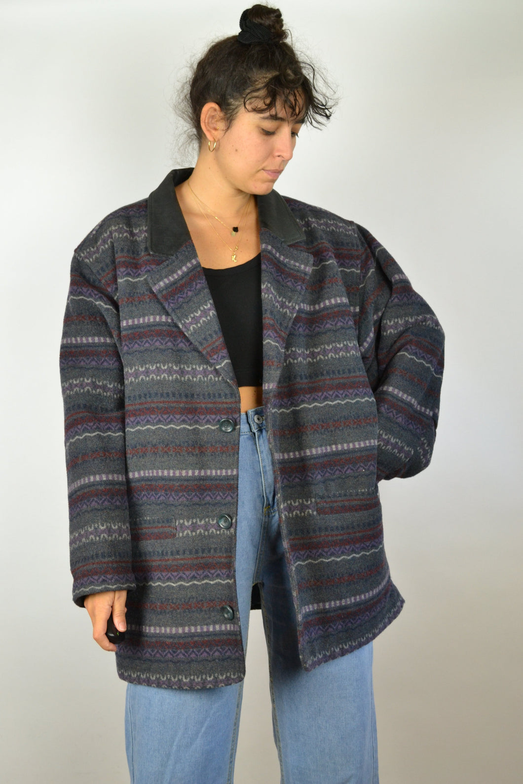 Fitted 80 Patterned Wool Jacket XL