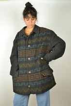 Load image into Gallery viewer, Wool Abstract Pattern Aztec Jacket Vintage 80s XL
