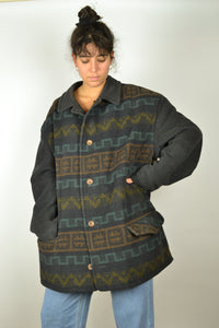 Wool Abstract Pattern Aztec Jacket Vintage 80s XL