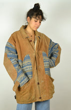 Load image into Gallery viewer, 80s Long Navajo Aztec Leather Winter Jacket XXL XL