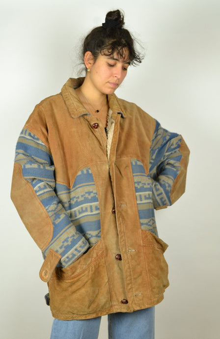 80s Long Navajo Aztec Leather Winter Jacket XXL XL