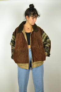 80s Collared Leather Wool Bomber Jacket XL