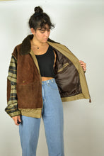 Load image into Gallery viewer, 80s Collared Leather Wool Bomber Jacket XL