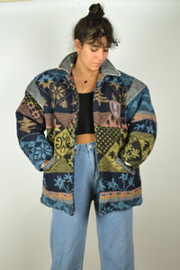 RARE 80s Patterned Aztec Coat Medium M S