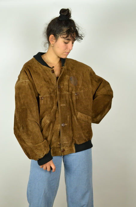 70s Brown Suede Bomber Jacket M L