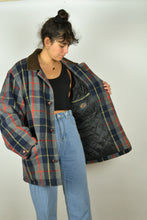Load image into Gallery viewer, 80s Long Checkered Pattern Coat Large L