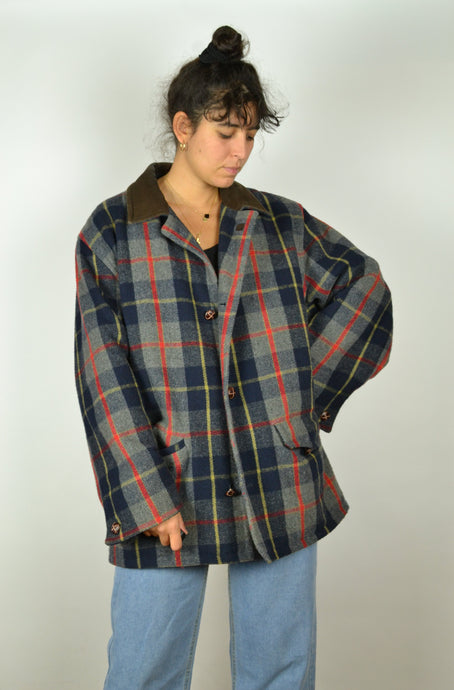 80s Long Checkered Pattern Coat Large L