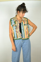 Load image into Gallery viewer, Sleeveless 80s Patterned Neon Denim Jacket Large L M