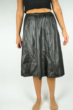 Load image into Gallery viewer, Long Black Faux Leather Skirt Large L