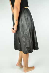 Long Black Faux Leather Skirt Large L