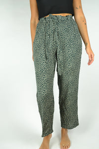 Light Floral wide-leg Summer Pant green/white Medium M