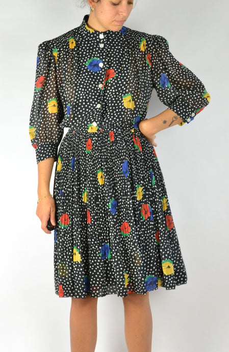 70s 80s puffed sleeves Colorful Fitted Dress M L