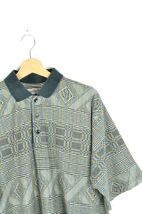 80s Patterned Light Polo Shirt Iridescent Rainbow Color M L