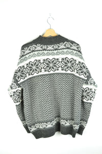 Patterned Icelndic Style Sweater Black/White L