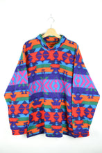 Load image into Gallery viewer, 80s Colorful Aztec Fleece Jacket Large XL XXL