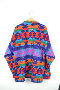 80s Colorful Aztec Fleece Jacket Large XL XXL