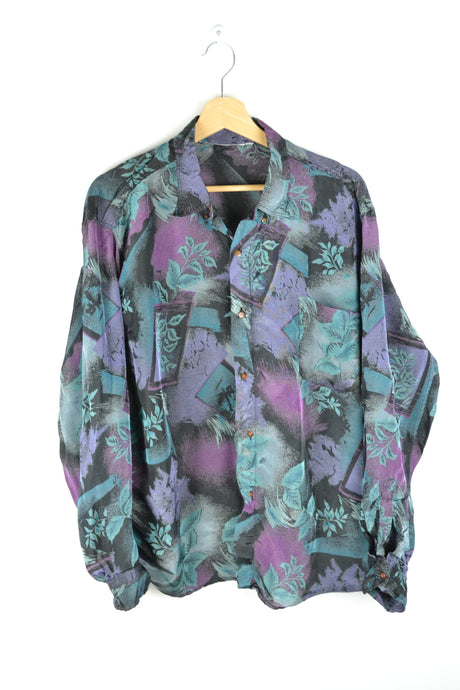 Abstract patterned purple/blue long sleeved shirt Large L