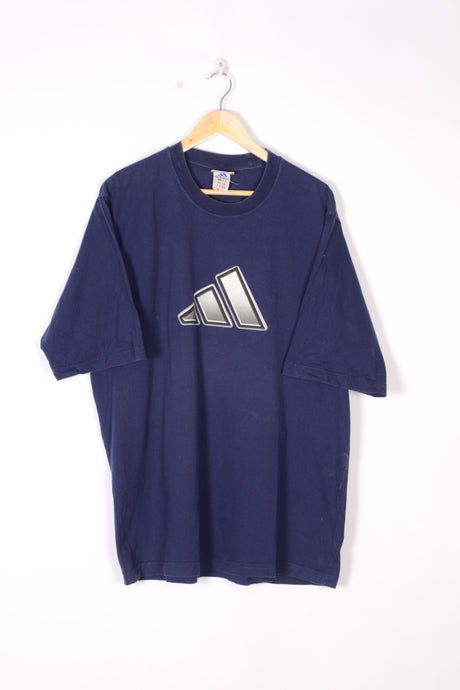Adidas T-Shirt Vintage 90s Blue Large XL