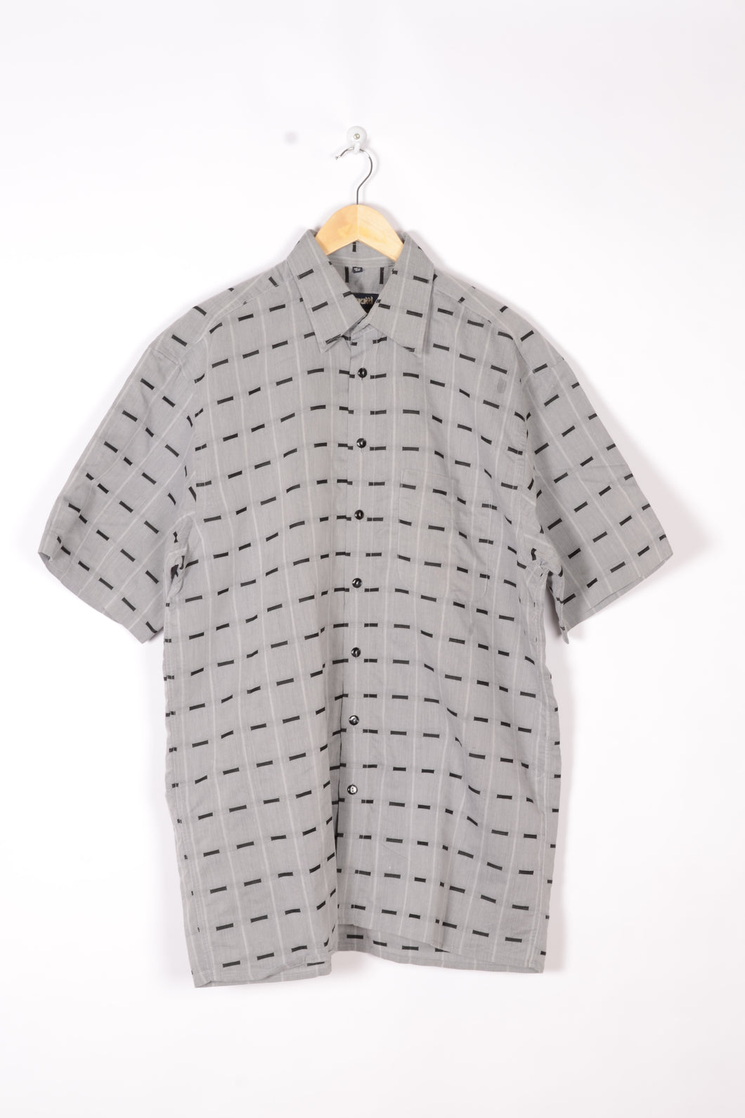 Bugatti Men's Shirt Vintage 90s Grey/Black Large XL