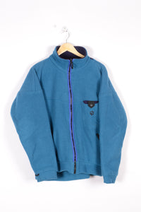 Jack Wolfskin Fleece Jacket Vintage 90s Blue Large L