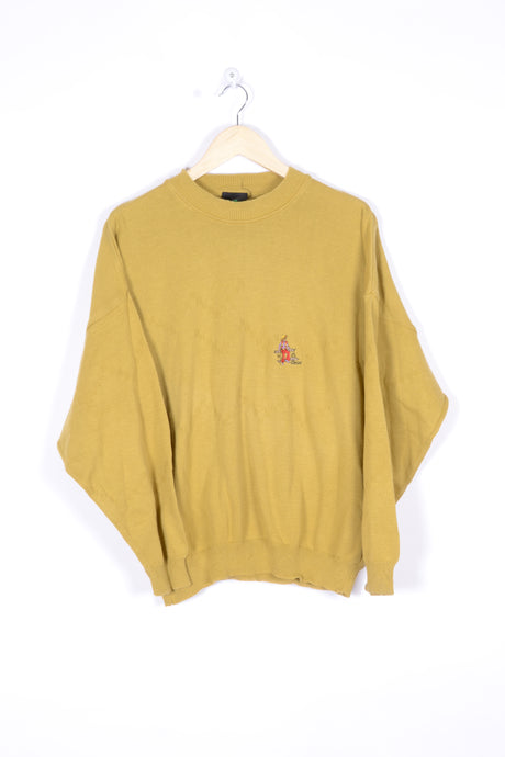 Yellow Sweater Vintage 90s 80s Plain Large L