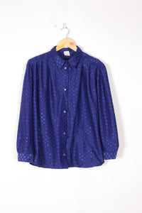 Retro Light Fitted Shirt Vintage 80s Electric Blue Large L