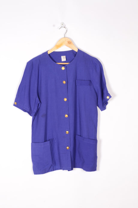 Electric Blue Shirt 80s Vintage Medium M