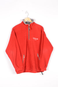 Half Zip Red Fleece Sweatshirt Vintage 90s Medium M