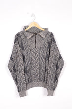 Load image into Gallery viewer, Half Zip Sweater Vintage 90s Grey Large L