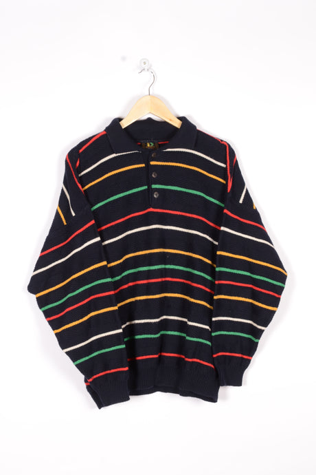 Striped Half Zip Sweater Vintage 90s Large L