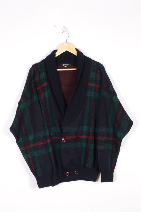 Plaid Cardigan Vintage 90s Blue/Green/red Large L